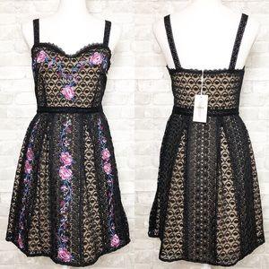 FOXIEDOX Black Floral Print Fit & Flare Mini Dress